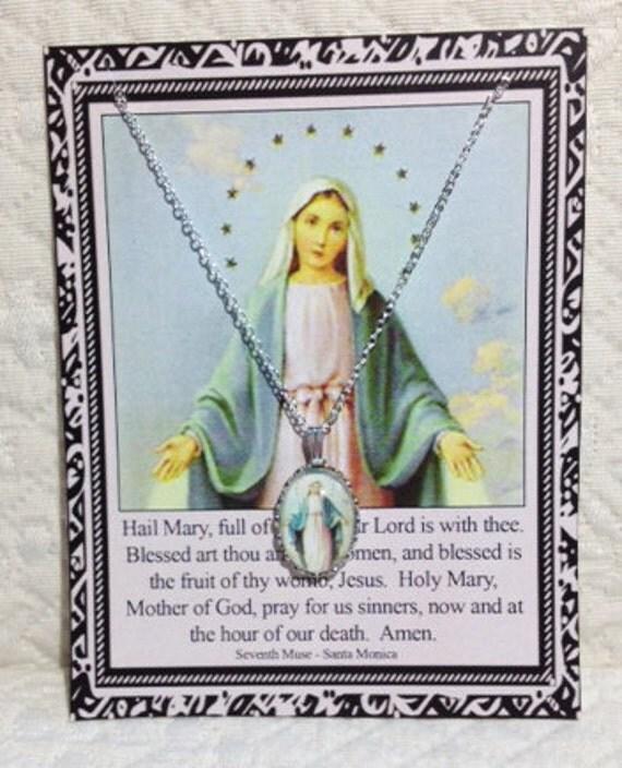 Mary Necklace on Prayer Card