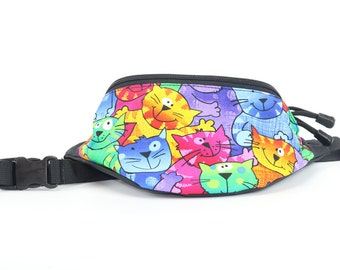 Fanny pack Colorful Cats fabric - Cute  - Hip Waist Bag for travel, sport, and hiking with 2-zippered compartments