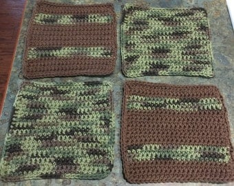 Washcloths or Dishcloths Renegade Camouflage Handmade Crochet Qty of 4