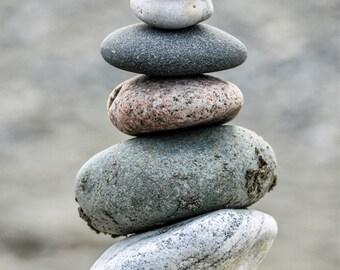 Balancing Stacked Rocks Cairn Photo, Peace, Zen, Washington State Beach Photograph