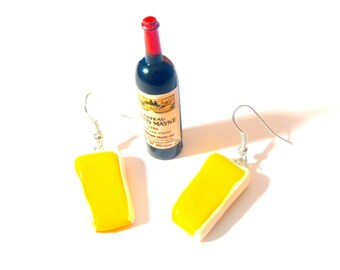 CAMEMBERT SLICES -- Earrings, polymer clay, cheese by The Sausage