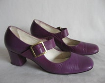 Vintage 60's Mod purple Mary Janes Size 6.5N leather heels buckle shoes