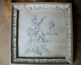 French C1930 Ink Drawing Kids & Terrier Dog Framed Glazed