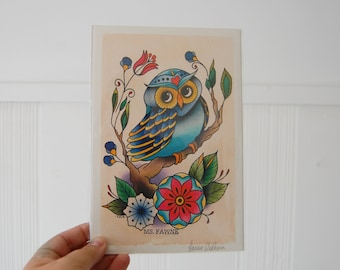 6x9 Small Print of Owl Watercolor Painting *Tattoo Flash*