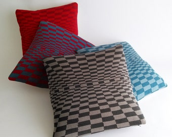 Cobblestones OP ART Pillow - Loom Knit Cotton/Linen