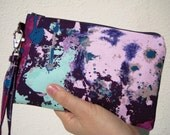WEDDING CLUTCH gift pouch 2 pockets bridesmaids gift for her purple wristlet wallet - Drop cloth in purple