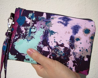 Wedding Clutch 2 pockets,medium,purple,cotton, gift for her, wristlet wallet - Drop cloth in purple