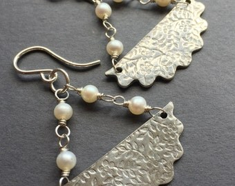 Baby's Breath, White Freshwater Pearls, Fine Silver, Sterling Silver Earrings, erinelizabeth