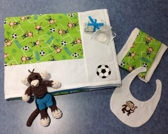 Soccer Monkey Blanket 6 pc. Baby Gift Set