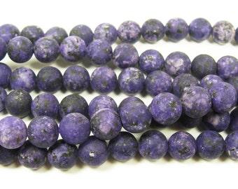 Dark Purple Kiwi Jade Matte Round Gemstone Beads