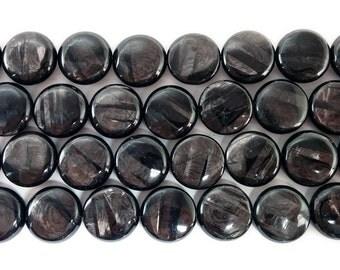 Hypersthene Coin Gemstone Beads