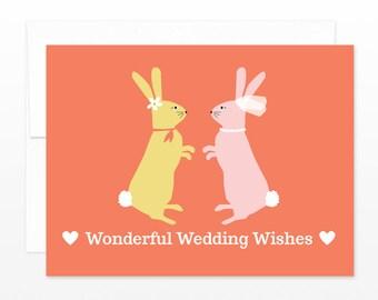 Cute Lesbian Wedding Card - Gay Wedding Greeting Card - Rabbits Bunnies Wedding Card - Wedding Wishes - Congratulations Card, Happy Couple