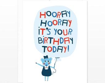 Children's Birthday Mouse & Balloon Card - cute mouse card, card for kids, card for boys, card for girls, kids birthday card, adult birthday