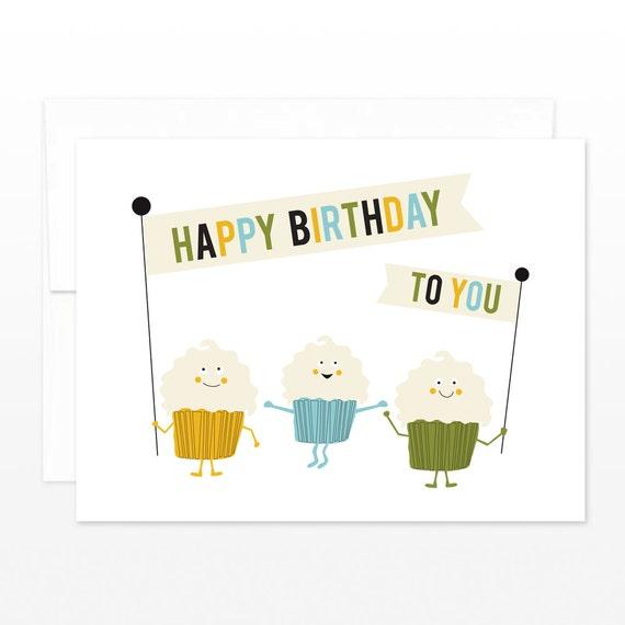 Funny Cupcake Cute Birthday Card - Cupcake Parade - card for her, card for him, cupcake lover card, coworker card, sweet birthday wishes