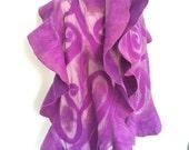 Nuno Felted scarf , Merino scarf , Unique Wool scarf, Felted Ruffled  Scarf , Violet  Wrap, Iona Loyola