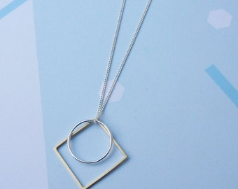 Sector Necklace-Delicate Sterling Silver Square, Circle Necklace Geometric