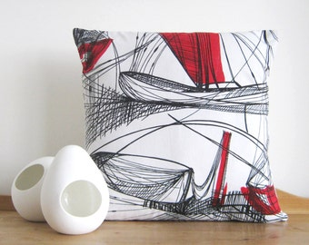 Nautical Vintage Cushion Cover 1950s Abstract Pillow