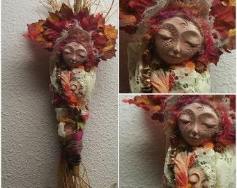 Nature Spirit, Art doll, Kitchen Witch, Rustic Home Décor, Prosperity Art Doll, OOAK Art Doll Assemblage.