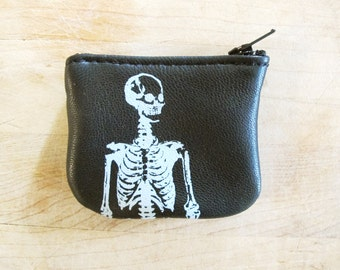 Wee Skeleton Coin Purse Leather Recycled