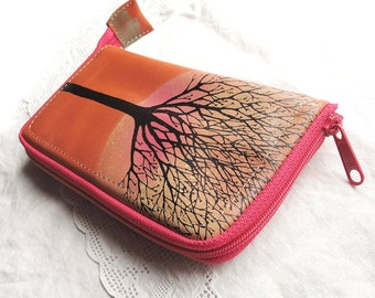 Large Leather Zip Around Wallet with Tree Screenprint