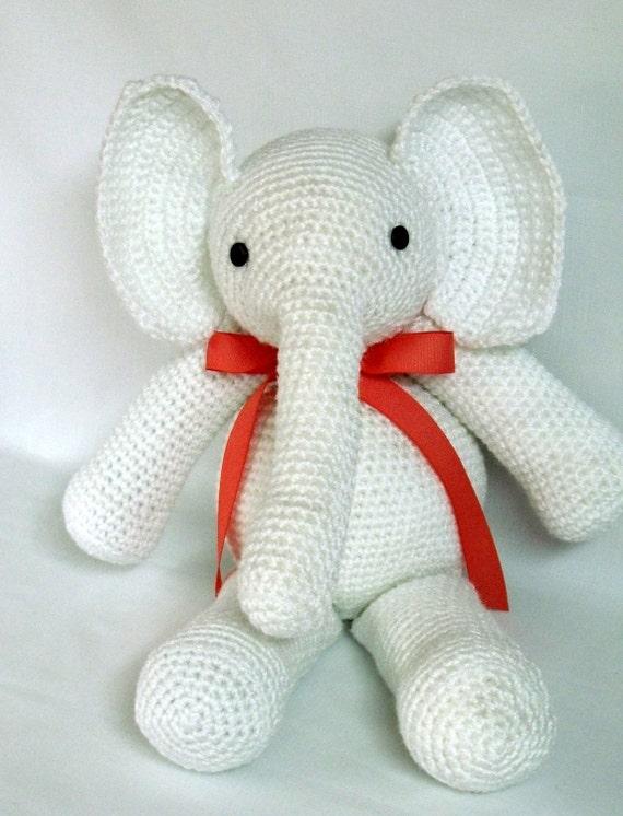 Amigurumi Stuffed Animals : Amigurumi Hand Crocheted Stuffed Animal White Elephant Toy