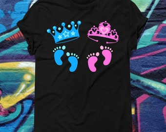 Twins Gender Reveal Game T-shirt Baby Girl Baby Boy Pregnancy Reveal Tee New Parent Gift New Baby Present Baby Shower Game Shirt AR-69
