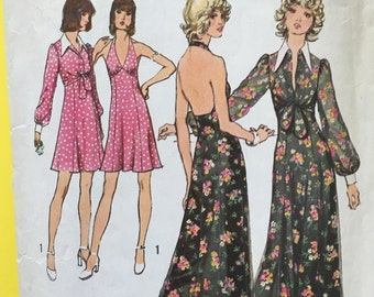 70s Vintage Halter Dress Bolero Jacket Sewing Pattern Simplicity 5561 Complete 1970s Seventies Halter Dress & Bolero Patterns Bust 34