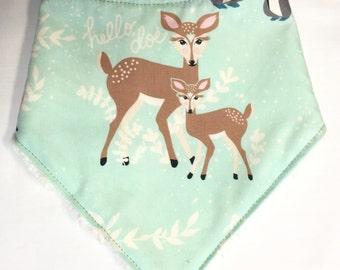 Gender Neutral Bandana Baby Bib in Mint Deer Fabric - Baby Shower Gift