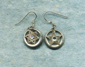 Too Jewish Not Jewish Enough , earrings with stars, star of David, Christian star, dangle earrings, earrings, silver ear wires,  religion