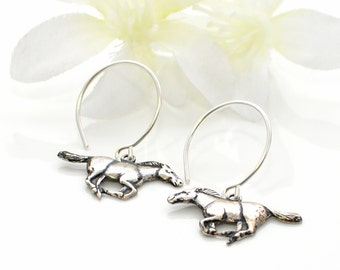 Silver Horse Earrings - All the Running Horse - Horse Pendant - Horse Jewelry - Gift for Horse Lovers