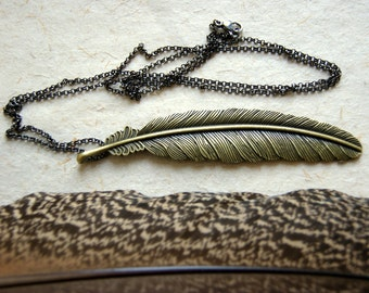 Large Bronze Feather Necklace - Long Feather Necklace - FREE GIFT WRAP