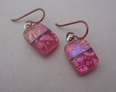 "Cute 1"" dangle fused dichroic glass earrings bright pink magenta dichroic glass drop earrings. Bright Pink niobium ear wires."