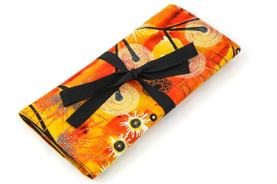 SHORT Knitting Needle Organizer Case - Bellflower - 24 black pockets for circular, double pointed, interchangeable or travel