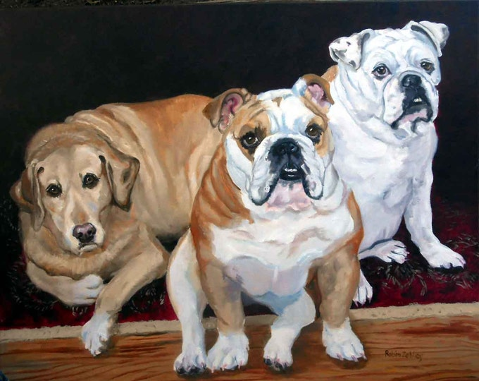 Dog Family Pet Portraits of English Bulldogs and Yellow Labrador Retriever or any Breeds