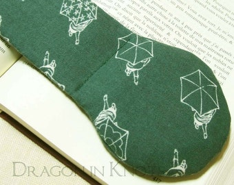 Umbrella Book Weight - Chalkboard Green Japanese Fabric - Rainy Day Back to School Textbook Page Holder, Walking in the Rain Bookmark