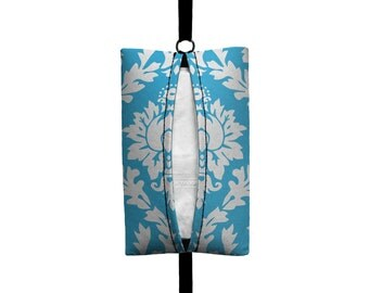 Auto Sneeze - Damask - Visor Tissue Case/Cozy - Car Accessory Automobile Aqua Blue White
