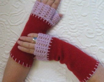 Fingerless Cashmere Gloves . fingerless cashmere gloves . made from recycled Cashmere Sweaters . felted cashmere . fingerless gloves
