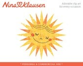 Happy Sun Clipart Single - Sun Clipart - Weather Clipart - Cute Sun Clipart - Personal and Commercial Use Stock Art
