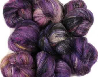 Deep Space -- mini batts (2 oz.) organic polwarth wool, bamboo, silk, yak, sari silk, sparkle.