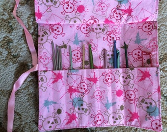 Handmade Crochet Hook Case/Roll-Pink with Skulls and Crossbones-Adorable