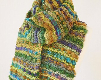Handknit long scarf made with handspun luxury yarn soft pure wool - READY TO SHIP