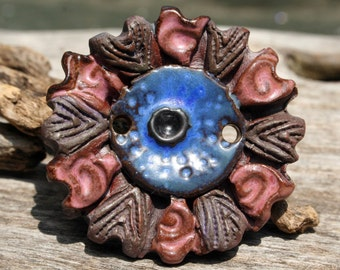 Handmade Ceramic Link Bead or Wide Button