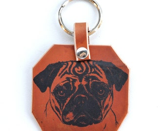 Pug Keychain in Brown Leather