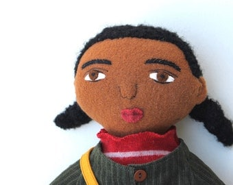 Black Girl doll wool School clothes