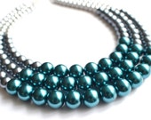 The Julianne- Color Block Glass Pearl Necklace