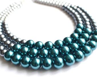 Julianne - Blue Gray Silver Bridesmaid Pearl Necklace