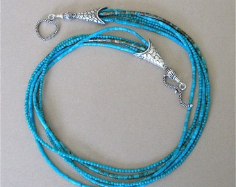 Kingman Turquoise Necklace - 5 Strand Tiny Heishi and Round Turquoise Beads - Southwest Sterling Silver Cones and Toggle - Twist or Not
