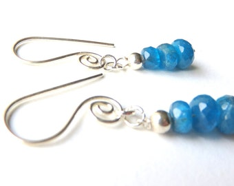 Ocean Blue Earrings, Petite Apatite Gemstone Rondelles, Sterling Silver Dangle, Silver Swirl Ear Wires, Gemstone Stacks, Bright Blue Earring