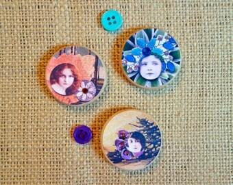 Vintage Girl Magnets Collage One of a Kind Original Artwork Whimsical Woodland Fantasy Gift Giving Fridge Magnets Office Magnets Children