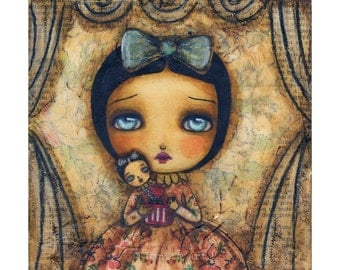 Me in the box - Giclee Reproduction Of Original Collage Painting By Danita Art (Paper Prints and ACEO Wood Mounted)